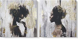 Pi Art African American Black Art Canvas Art, Gold Wall Decor Framed Wall Art for Living Room and Bedroom (32x32 inch, A & B Framed)
