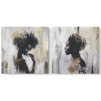 Amazoncom Pi Art African American Black Art Canvas Art Gold Wall