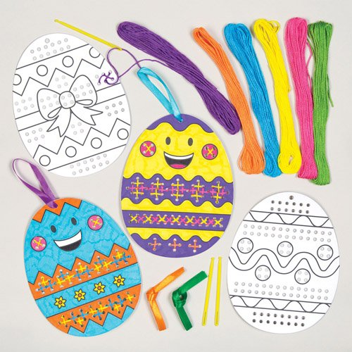 Easter Egg Cross Stitch Hanging Decoration Kits for Children to Make and Decorate - Creative Craft Set for Kids (Pack of 5)