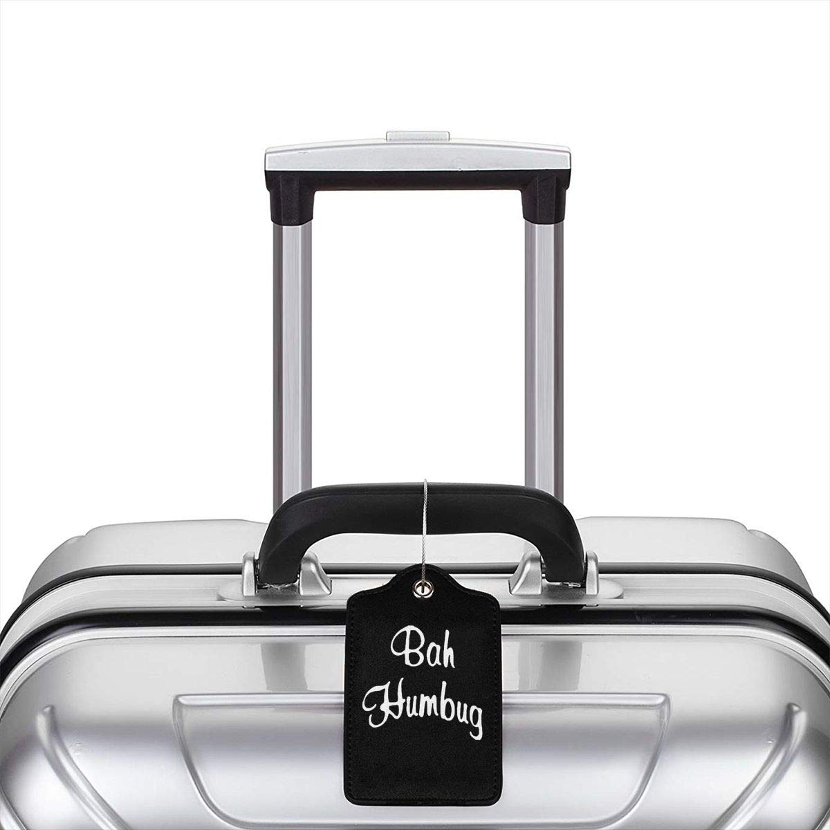 Bah Humbug Leather Luggage Tag Travel ID Label For Baggage Suitcase