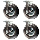 Service Caster - 8'' Black Pneumatic Rubber Wheel - 4 Swivel Casters w/Brakes - Set of 4