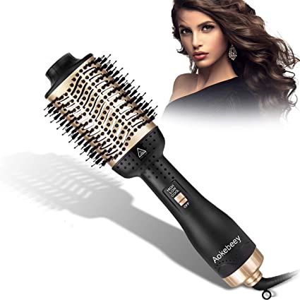 Aokebeey Hair Dryer Brush, Upgrade 5 in 1 Hot Air Styler and Volumizer, Negative Ionic Curler Straightening Comb, 3 Temperatures and 3 Speeds, Reduce