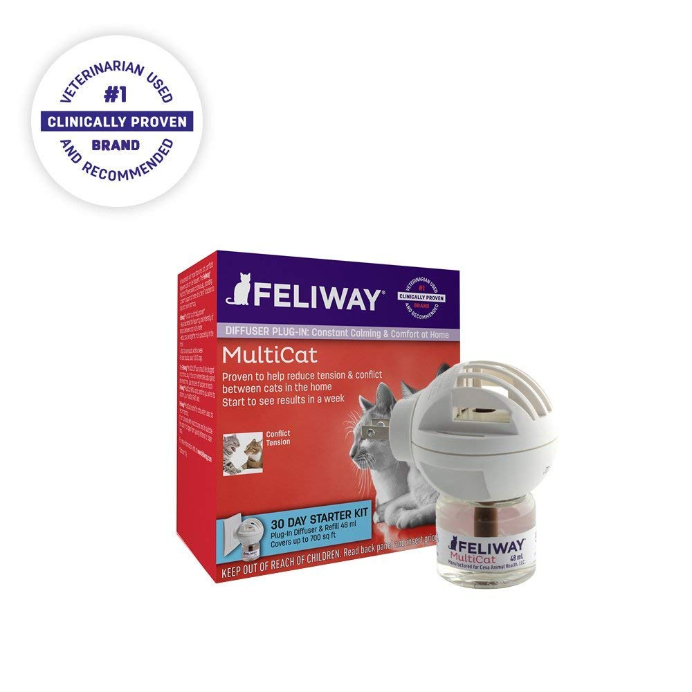 FELIWAY MultiCat Starter Kit for Cats (Diffuser and 48 ml Vial) by CEVA Animal Health.