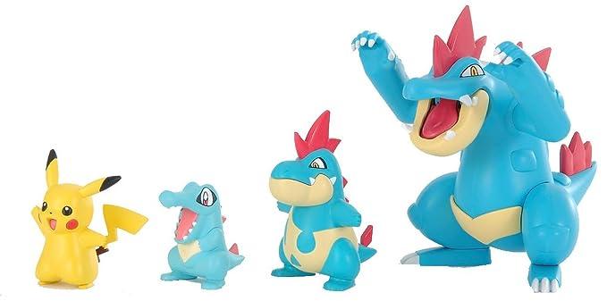 Pokemon Plamo Collection (Pokebla) Plastic Model Kit / Figure: Totodile - Feraligatr Evolution Set & Pikachu