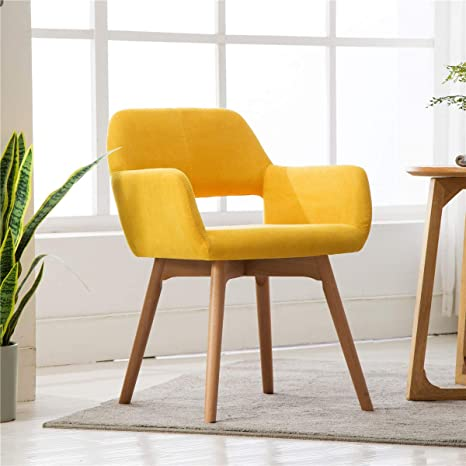 Admirable Lansen Furniture Set Of 1 Modern Living Dining Room Accent Arm Chairs Club Guest With Solid Wood Legs Yellow Inzonedesignstudio Interior Chair Design Inzonedesignstudiocom