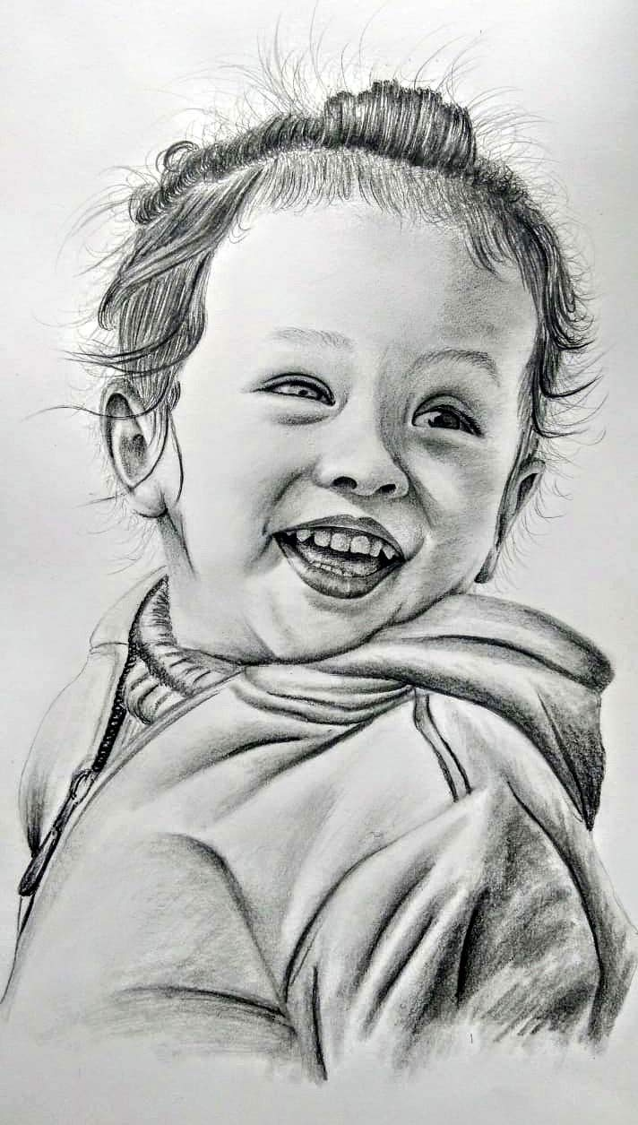 Mukesh art stationery a4 size pencil single person portrait sketch without frame black paper 8x12