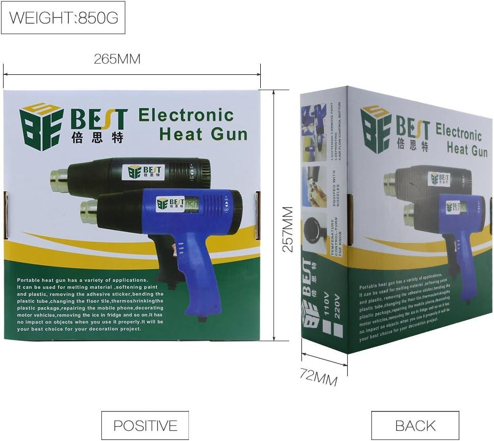 Pistolet thermique 1600/W BEST Tool bst-8016/d/écapant /à air chaud temp/érature r/églable de 60//°c /à 600//°c avec /écran LCD Outil professionnel EC D/écapeur thermique carroziere