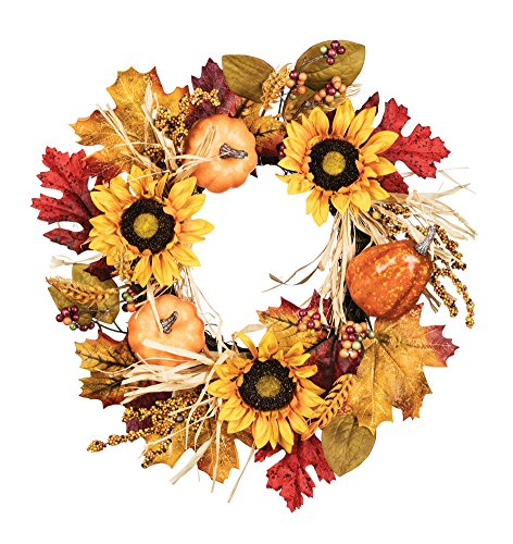 Sullivans Artificial Wheat Sunflower & Gourds Wreath 12