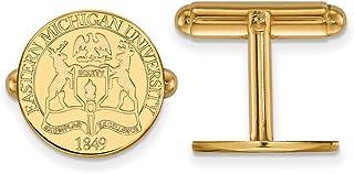 Lex & Lu Logoart argento Sterling W/GP Eastern Michigan University Crest Cuff Link LALGP018EMU