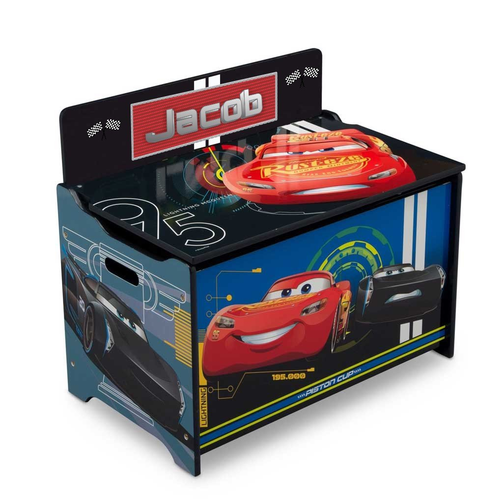 Personalized Disney Toy Box with Reversible Top Panel (Cars 3)