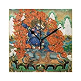 Franzibla Vintage Distressed Tibetan Buddhist Thangka 7.87 Inch Battery Operated Decorative Wall Clock, Quartz Clock For Bedrooms, Living Room, Bathroom