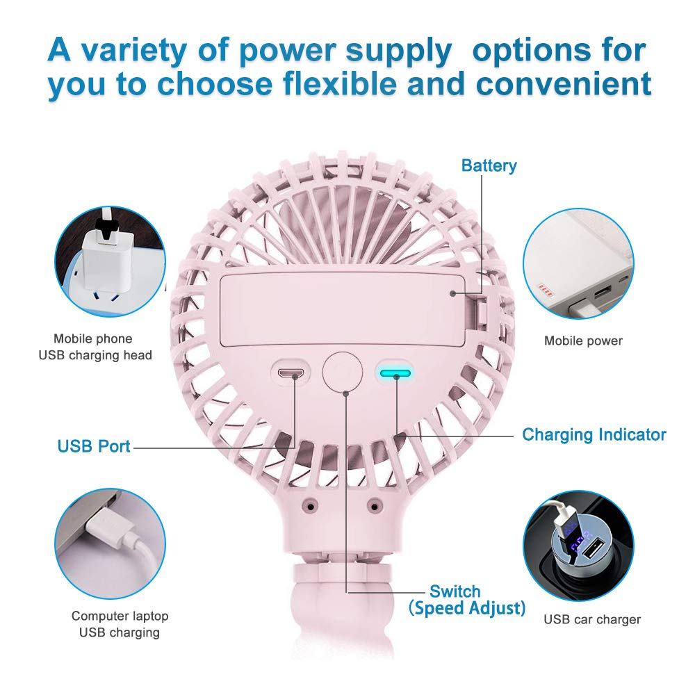 Mini Handheld Stroller Fan, HomoDesign Personal Portable Baby Bed Fan with Flexible Tripod, USB Rechargeable Desk Fan Adjustable 3 Speeds for Camping/Traveling/Office/BBQ/Gym (Pink) by HomoDesign (Image #4)
