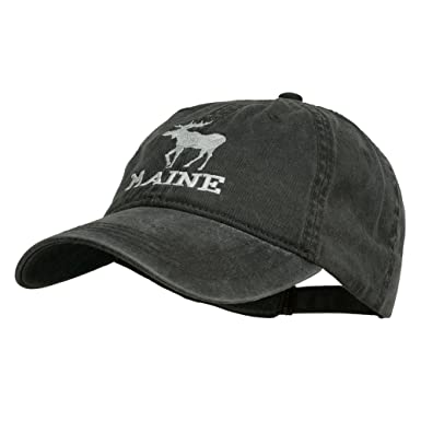 3faa1de69 e4Hats.com Maine State Moose Embroidered Washed Dyed Cap - Black OSFM