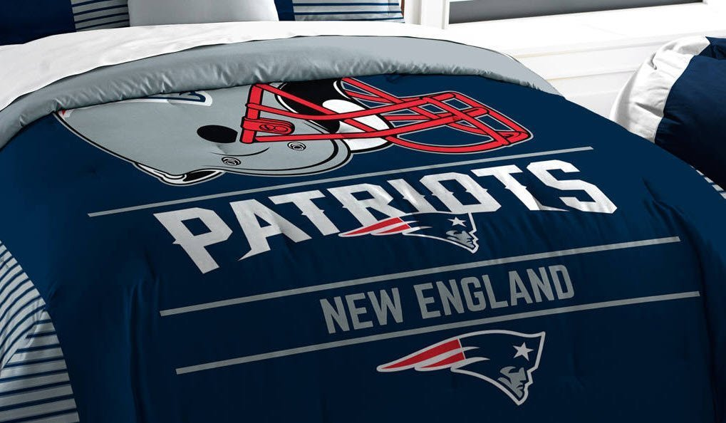 New England Patriots Comforter Set Bedding Shams NFL 3 Piece King Size 1 Comforter 2 Shams Football Officially Licensed Linen Bedroom Decor Imported For True Fans Sold by MBG.4u