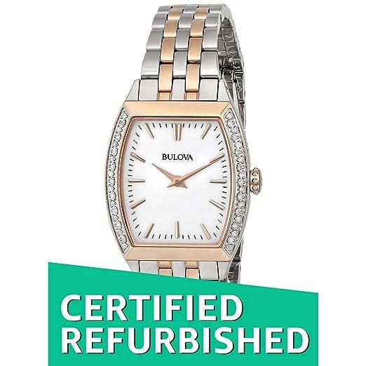 (CERTIFIED REFURBISHED) Bulova Diamond Analog White Dial Women's Watch - 98R200 Women at amazon