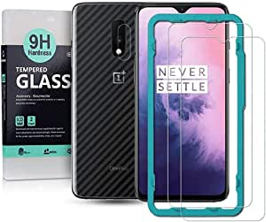 For Oneplus 7 Screen Protetor (2 packs) with Camera Lens Tempered Glass Protector,Back Carbon Fiber Skin Protector,Including Easy Install Kit, Ibywind