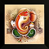 SAF Ganesh UV Textured Religious Modern Art Framed Painting (Synthetic, 14 inch x 14 inch)