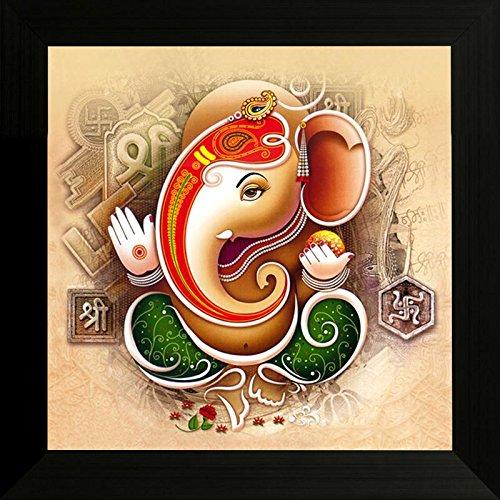 SAF 'Ganesh Religious Modern Art UV Textured Framed' Painting (Synthetic, 34 cm x 34 cm x 2 cm)
