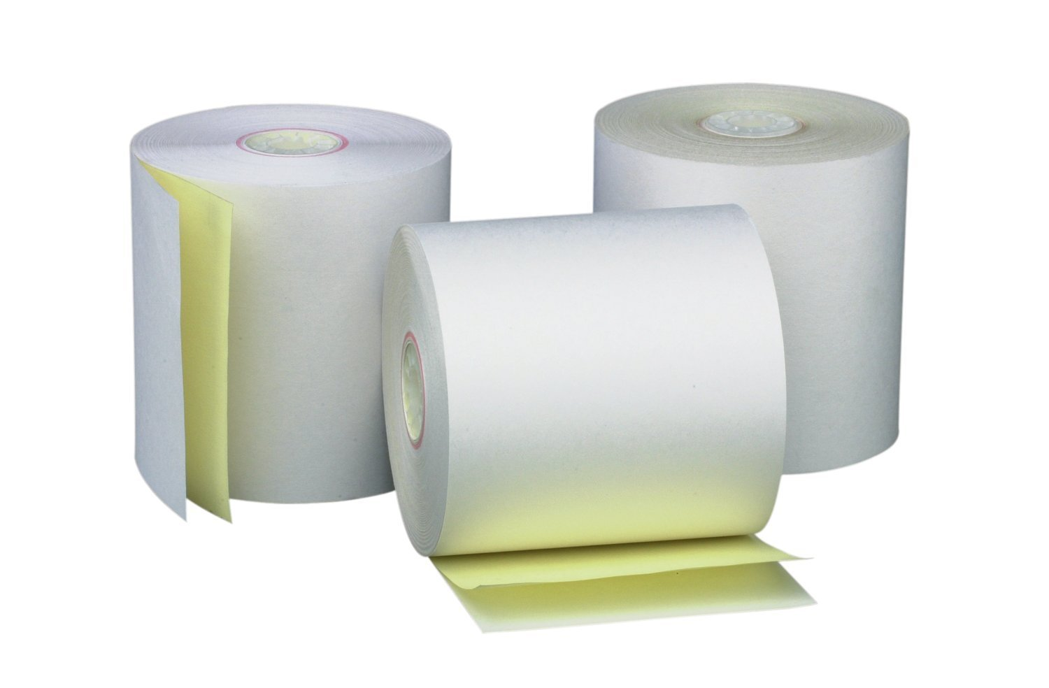 AM-Ink Two Ply Carbonless POS Receipt Paper Rolls 3'' x 90' 2-Ply White/Canary - 50 Rolls
