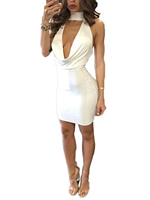 Women's Sexy V Neck Sleeveless Double Side Slit Bodycon Mini Dress (M, White)