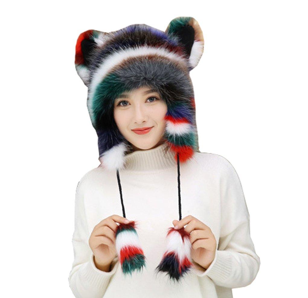 Women Ladies Cute Fox Cat Ears Aniaml Full Hood Hats Earflap Skull Caps Winter Windproof Warm Cozy Fluffy Headwear Beanies, Christmas Halloween Birthday Gift by FakeFace