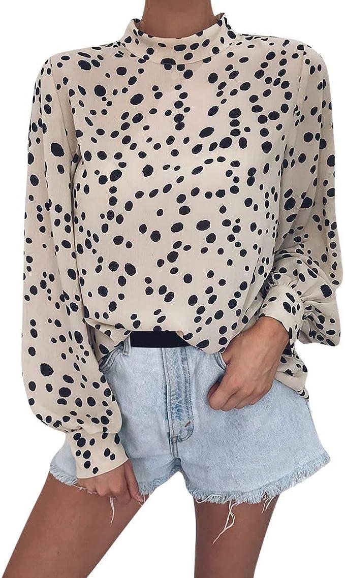Luckycat Camiseta de Manga Larga Leopardo Estampado Cuello Alto para Mujer Tops Blusa: Amazon.es: Ropa y accesorios