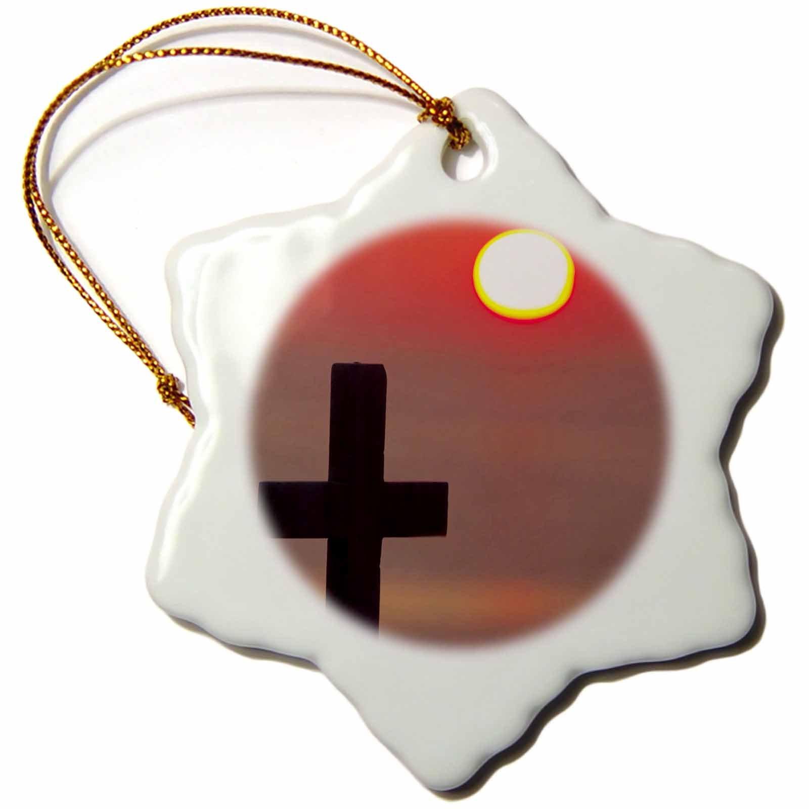 3dRose orn_81800_1 Christian Cross, Sunset, Mykonos, Greece EU12 AJE0012 Adam Jones Snowflake Porcelain Ornament, 3-Inch