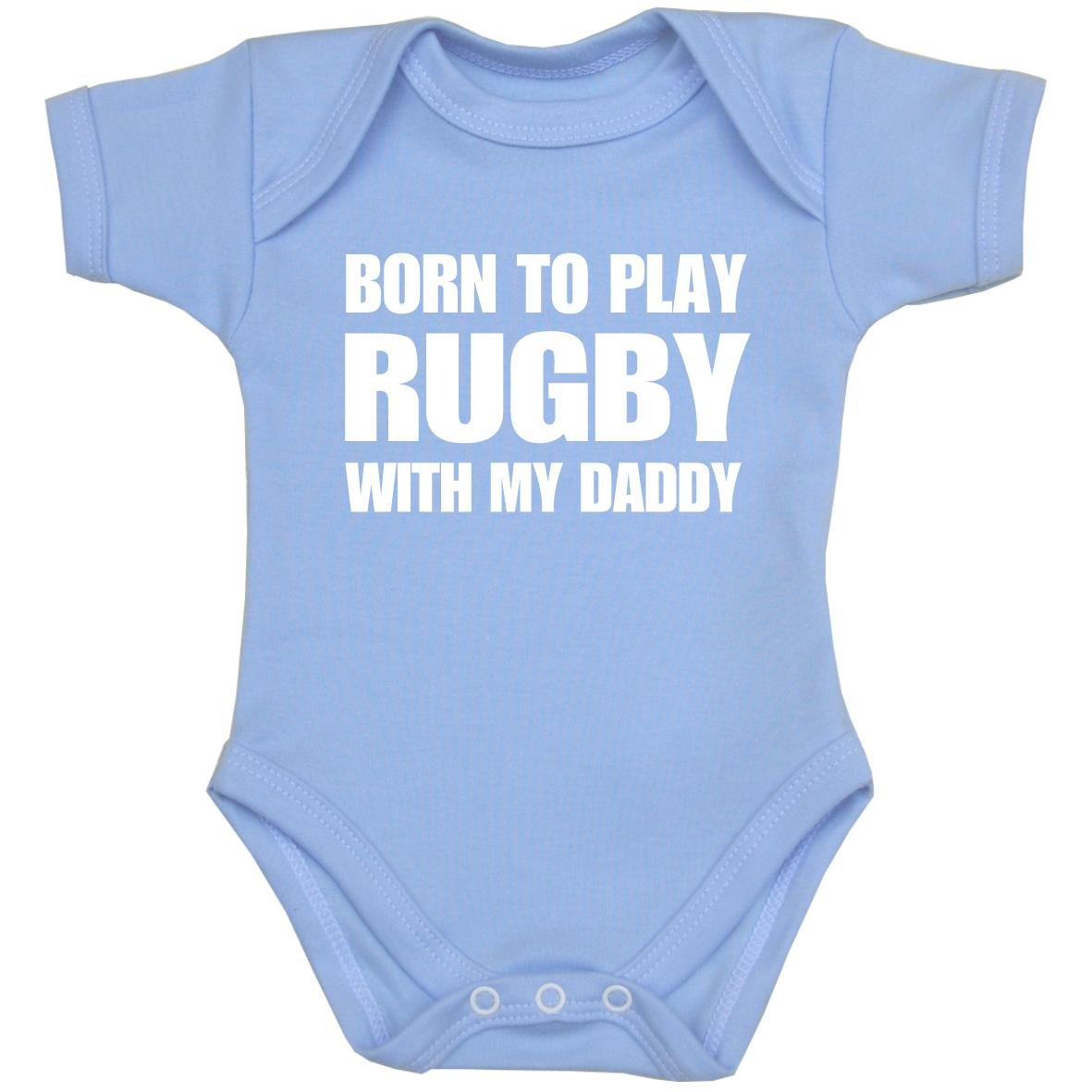 BabyPrem Born to Play Rugby with My Daddy Baby Clothes Bodysuit NB-12 mth
