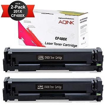2pk CF400X 201X Black Toner Cartridge Fit HP Laserjet M252dw M277dw M277n CF400A
