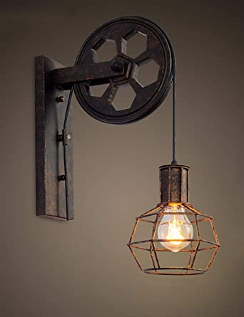 purchase cheap 7316f 050e2 Creative Retro Industrial Style Wall Lights Loft Style Lifting Pulley  Lights Aisle Corridor Wall Lamp E27