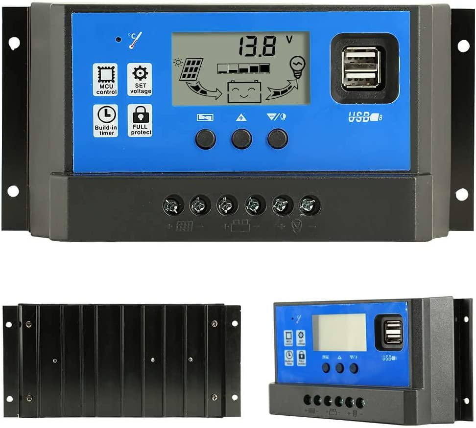PowMr 60a Charge Controller – Solar Panel Charge Controller 12V 24V,Adjustable Parameter LCD Display Current Capacity and Timer Setting ON Off Solar Regulator with 5V Dual USB CM-60A