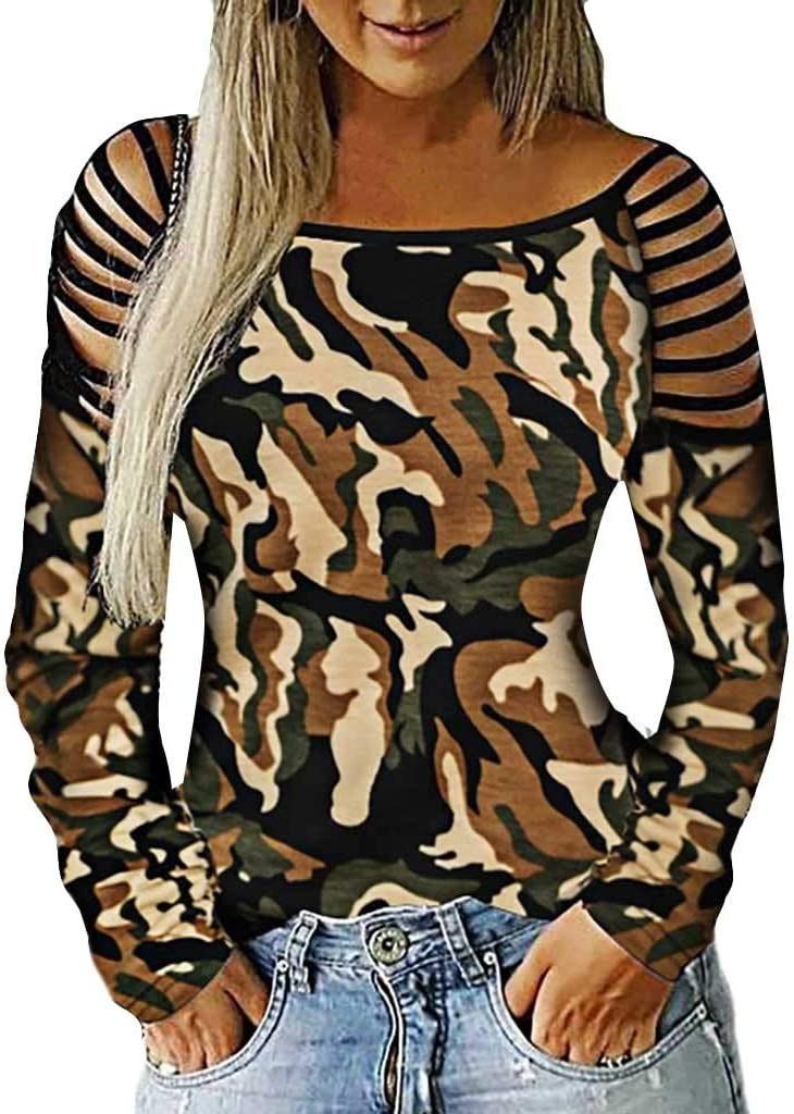 New Ladies Women Bandage Camouflage Long Sleeve Shirt Casual Blouse Tops T-Shirt