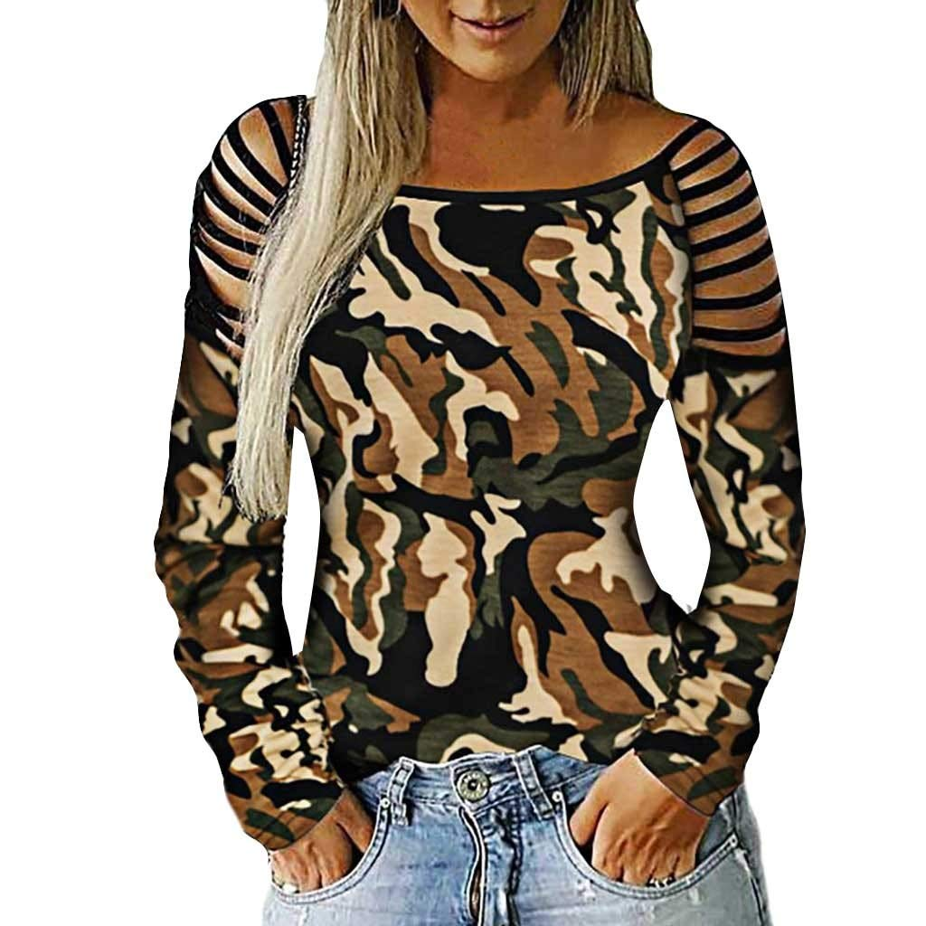 Womens Casual Patchwork Blouse Girls Long Sleeve Stretch Block T-Shirts Tops Tee