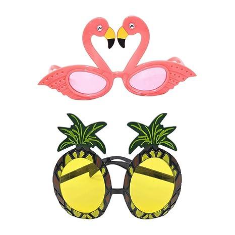 Amosfun 2pcs Hawaiian Gafas de Sol Tropicales Piña Flamingo ...