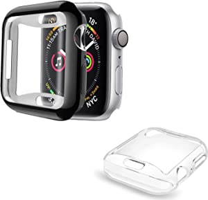 [2 Pack] ALADRS Screen Protector Case for Apple Watch 44mm, Full Protective HD Ultra-Thin Cover Compatible with iWatch Series 4 Series 5 Series 6 SE Bumper Case, Black+Clear