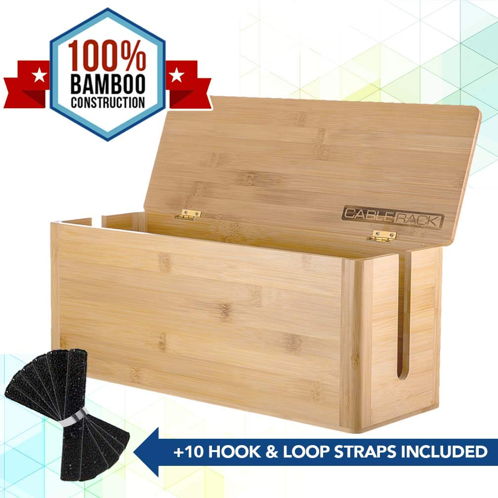 CableRack Bamboo Large Cable Management Box for Amazing Desk Cable Management and Power Strip Box Solutions by CableRack