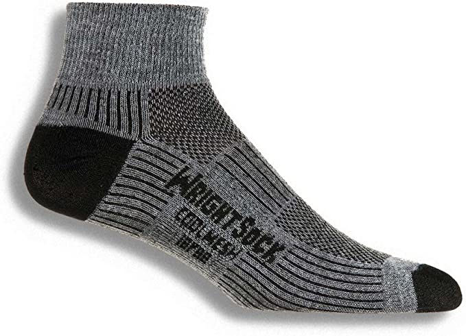 Image of a Wrightsock Coolmesh II Quarter Running Socks, grey and black color combination.