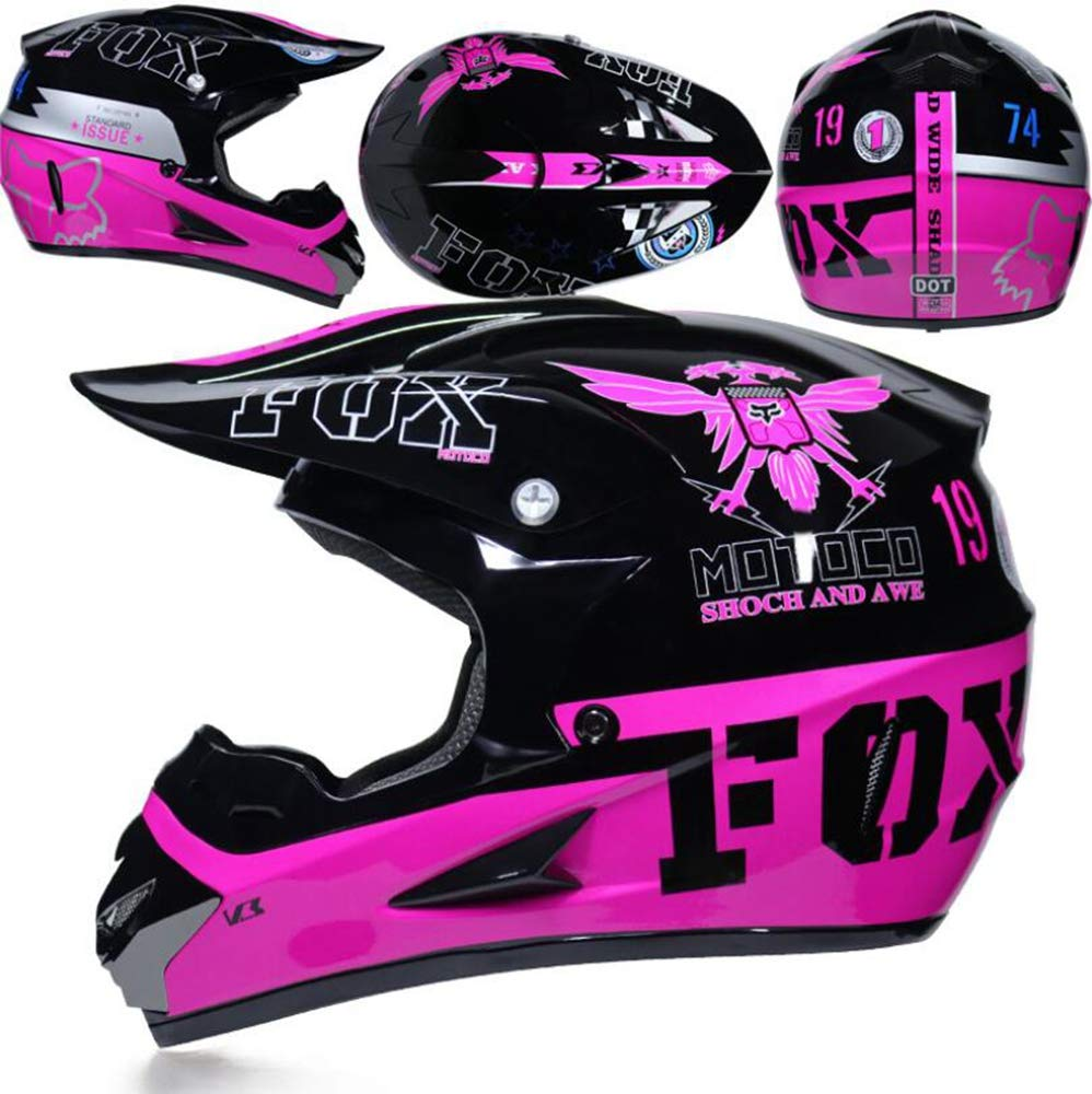 Glass Gloves and Mask Teen Adult Motorcycle Helmet Four Seasons Breathable MX Off-Road ATV Scooter Helmet DOT Certification