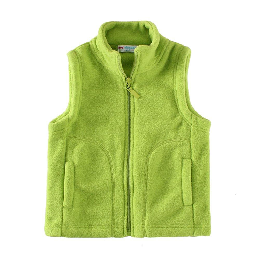 UWESPRING Boys Vests Autumn Winter Fleece Solid Pocket