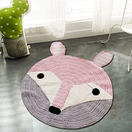 Round Rugs,Toys Storage Organizer,Nursery Rugs Large Cotton Anti-slip Cartoon Animal Baby Floor Mat Game Area for Kids Room Living Room, 31.5x31.5inch (Fox)