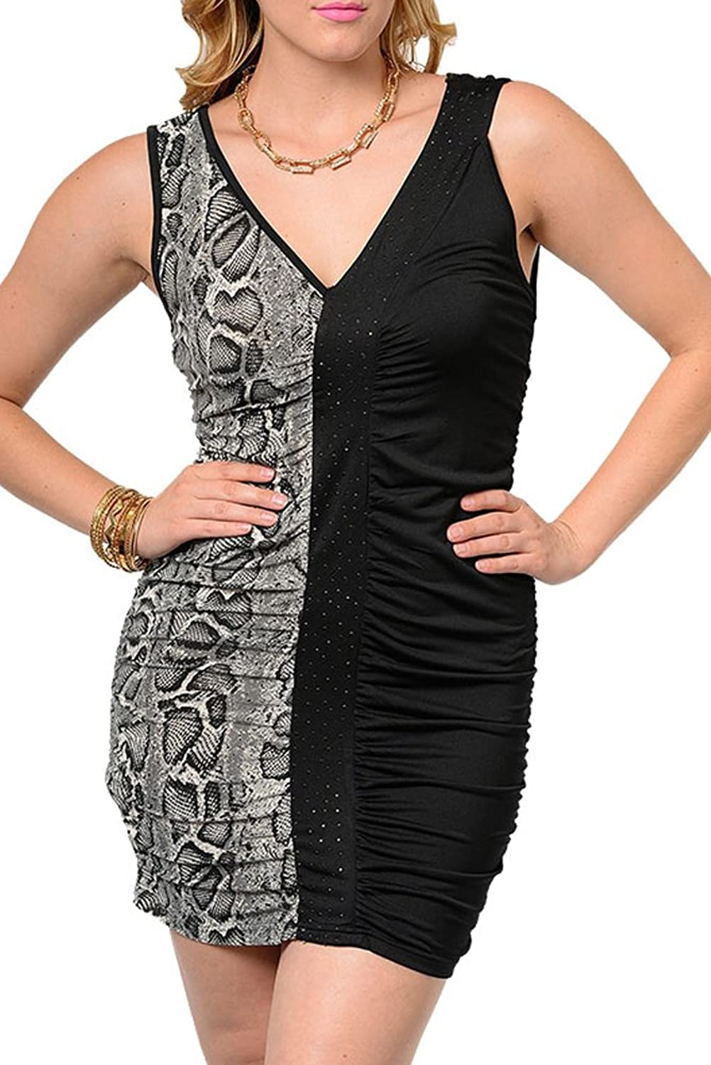 DHStyles Women's Plus Size Sexy Demure Cinched Animal Print Jeweled Dress