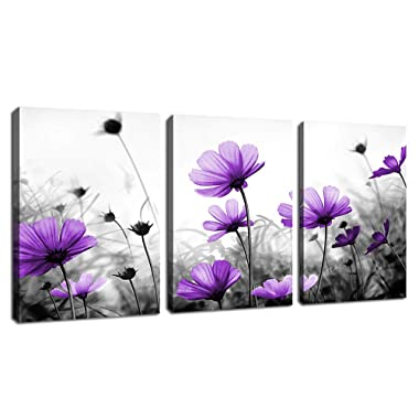 Flowers Wall Art Canvas Pictures Purple Wildflowers Black and White Background 3 Piece Canvas Art Blossom Contemporary Artwork for Home Decoration Office Kitchen Wall Decor 12 x 16  x 3 Panels