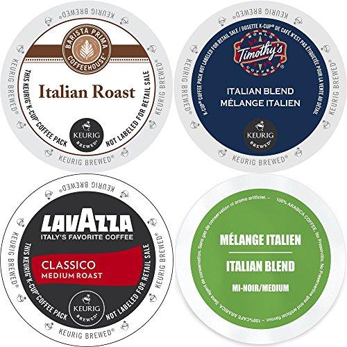 Italian Roast K-Cup Coffee 96 Count Variety Pack - Barista Prima Italian Roast, Lavazza Classico, Timothy's Italian Blend, and Faro Italian Blend, Keurig 2.0 K-Cup Sampler for Keurig K Cup Brewers