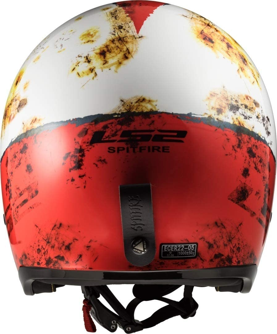 LS2 Casque moto OF599 SPITFIRE RUST Blanc Rouge XS Blanc//Rouge
