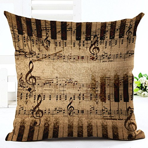 Venzhe 2016 New Design Beautiful Music Notes Pillow Case Linen Square Decorative Piano Sheet Score Throw Pillow Cover Cushion Cojines For Office Chair 18x18 Inch - Pattern 2