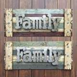 FAMILY Sign Reclaimed Rustic Pallet Wood Wooden Wall Log Cabin Style 36'' Shutter Red Green Blue Cream Tan Rectangle *Hang with Family Pictures *Living Room Decor