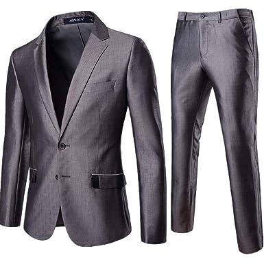 Logobeing Chaqueta de Trajes para Hombre - Slim Suit - 2Piezas ...