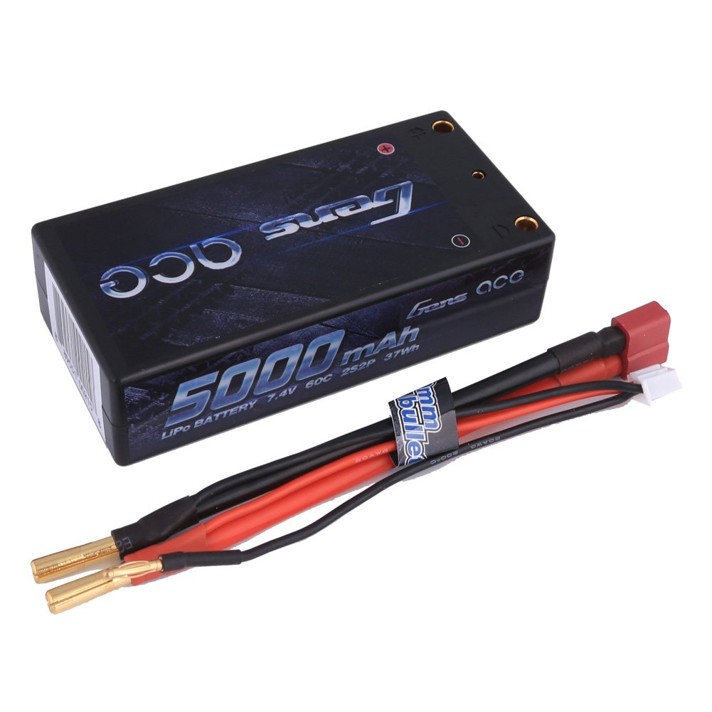 Gens ace LiPo Battery 5000mAh 7.4V 60C 2S2P HardCase Shorty Pack with Deans T Plug for RC Car Boat Truck