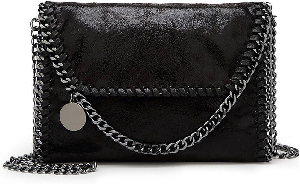 Valleycomfy bolso de mujer elegante bolso de hombro correa de cadena metálica bolso de cuero de la PU bolsos cruzados bolsa de embragues