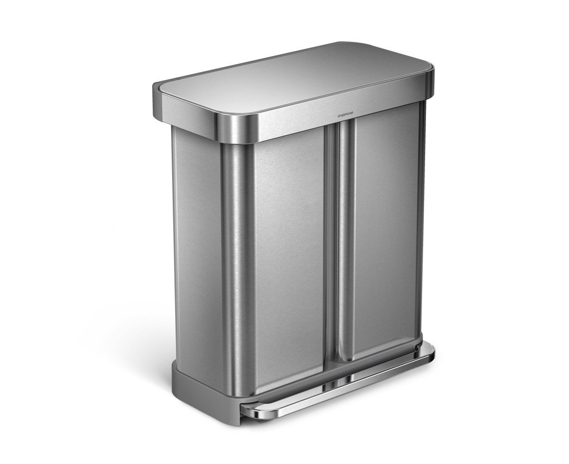 simplehuman Liner Rim Dual Bucket Rectangular Recycling Step Trash Can with Liner Pocket, Stainless Steel, 58 Liter / 15 Gallon by simplehuman